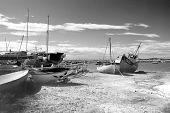 boatyard at mersea on sea in essex in summer