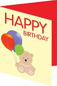 illiustration of a happy birthday card with curte bear and balloons