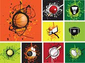 illustration of a selection of sports grunge icons