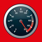 picture of speedo  - Spped dial showing maximum speed at 200 - JPG