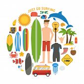 Surfing Lifestyle Elements Set poster
