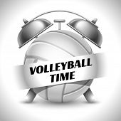 Постер, плакат: Concept on Sport Volleyball Theme Time to Play Sports Time to Watch Volleyball Tournament Time To