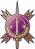 picture of armorial-bearings  - Military style emblem with hanger and diagonal cross - JPG