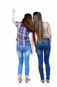 Постер, плакат: Back view of two pointing young girl Rear view people collection backside view of person beautif