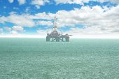 Oil platform offshore Baku on bright cloudy day