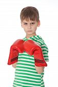 stock photo of pugilistic  - Angry boy pugilist isolated on a white background - JPG