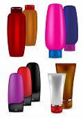 Shampoo, Conditioner, Talc And Cream - Vector Illustration