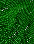 A Distorted Field Of Green Binary Code.