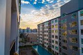 Condominium Loft Modern Apartment Living Room Sunset Time poster