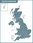 The Detailed Map Of The United Kingdom With Regions Or States. Actual Current Relevant Uk, Great Bri poster