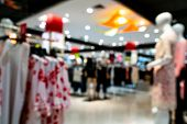 Shopping Mall Interior Blurred Background With Bokeh. Abstract Defocused Of Women Department Store I poster