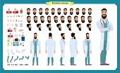 Front, Side, Back View Animated Character. Doctor Character Creation Set With Various Views, Face Em poster