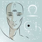 Постер, плакат: Sign Of Zodiac Libra Girl Is Fortuneteller With Third Eye Constellation Sign Of Zodiac And Planet