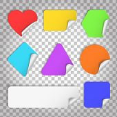 Color Paper Sticker With Curl And Shadow In Different Shape On A Transparent Background .set Of Blan poster