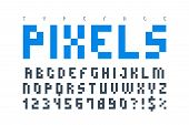 Pixel Trendy Typeset, Simple Font, System Computer Script. Original Design. Vector Illustration poster