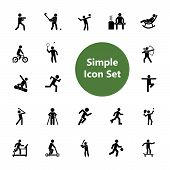 Icon Set Of Active People. Sport, Leisure, Fitness. Activity Concept. For Topics Like Healthy Lifest poster