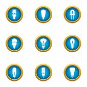 Strong Light Icons Set. Flat Set Of 9 Strong Light Vector Icons For Web Isolated On White Background poster