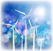 Concepto de ecología: generadores eólicos, los rayos de luz & azul cielo.  Mapa de bits copiar mi ID 6489083 del vector
