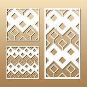 Die Cut Card. Laser Cut Vector Panel. Cutout Silhouette With Geometric Pattern. A Picture Suitable F poster