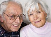 Happy senior couple smiling for a portrait