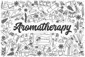 Hand Drawn Aromatherapy Doodle Set. Lettering - Aromatherapy poster