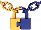 Puzzle padlock closed lock with chain