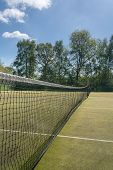 Close Detail Of The Netting In A Tennis Net On Outdoor Artificial Grass Court poster