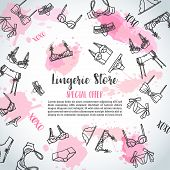 Lingerie Horizontal Banners Fashion Bra And Pantie. Web Header Template Vector Illustration Lingerie poster