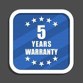 Warranty guarantee 5 year blue flat design square web icon poster