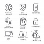 Gdpr And Privacy Policy Icon Set With Locks, Padlocks And Shields poster
