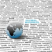 foto of eastern hemisphere  - Globe on page of global business economic international issues text words background - JPG
