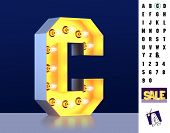 Letter C From Alphabet. Glowing Letter C. Bulb Type C. 3d Illuminated Light Bulb Symbol Letter C. Re poster