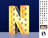 Letter N From Alphabet. Glowing Letter N. Bulb Type N. 3d Illuminated Light Bulb Symbol Letter N. Re poster