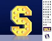 Letter S From Alphabet. Glowing Letter S. Bulb Type S. 3d Illuminated Light Bulb Symbol Letter S. Re poster