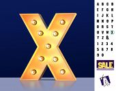 Letter X From Alphabet. Glowing Letter X. Bulb Type X. 3d Illuminated Light Bulb Symbol Letter X. Re poster