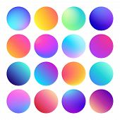 Rounded Holographic Gradient Sphere Button. Multicolor Green Purple Yellow Orange Pink Cyan Fluid Ci poster