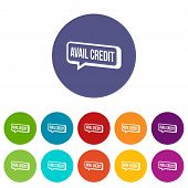 Avail Credit Icons Color Set Vector For Any Web Design On White Background poster