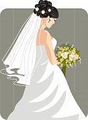 Vector illustration of a beautiful bride.