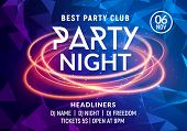 Night Dance Party Music Night Poster Template. Electro Style Concert Disco Club Party Event Flyer In poster