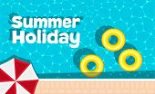 Summer Holiday Banner With Space For Text. Yellow Pool Float And Sun Umbrella. Ring Floating In A Re poster