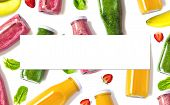 Colorful Organic Smoothies In Bottles  With Blank Isolated Sheet For Your Text Or Design. Natural Or poster