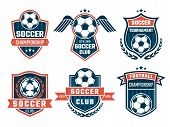Vector Emblem Of Football Theme. Sport Logos Design Soccer Banner And Logo College Club Illustration poster