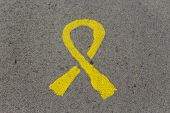 Yellow Tie Painted On The Asphalt. Symbol Of freedom Political Prisoners In Catalonia. Politics Co poster