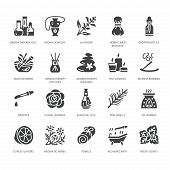 Essential Oils Aromatherapy Vector Flat Glyph Icons Set. Elements - Aroma Therapy Diffuser, Oil Burn poster