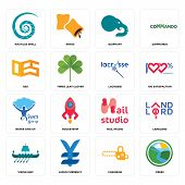 Set Of 16 Simple Editable Icons Such As Creek, Chainsaw, Japan Currency, Viking Ship, Landlord, Naut poster