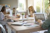 Businesswomen working in co-working space poster