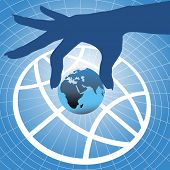 pic of eastern hemisphere  - Person hand holding up planet Eastern hemisphere over globe symbol and grid background - JPG