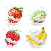 Vector Set Of Juicy Summer Fruits And Berries In Milk Or Cream Splashes, Isolated On Background. Nat poster