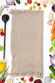 Colorful Food Ingredients On White Background. Bio Healthy Food Herbs And Spices For Health Cooking. poster