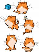 Vector Set Of Cute Orange Tabby Cat Characters In Different Action Poses Isolated On White Backgroun poster